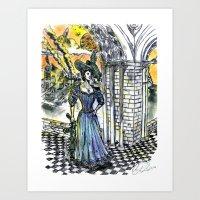 Victorian Lady Wielding a Machine Gun And Presiding Over The Apocalypse Art Print