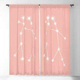 Gemini Zodiac Constellation - Pink Rose Blackout Curtain