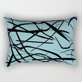Teal with Black Lines Rectangular Pillow