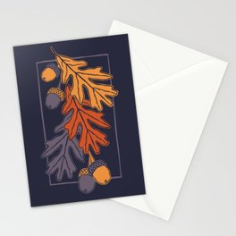 Autumn oak leaves and acorns pattern (dark background) Stationery Cards