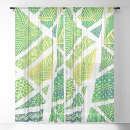 Geometric doodle pattern - green and yellow Sheer Curtain