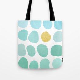 Aqua Pebbles & gold Tote Bag