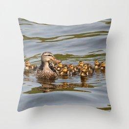 Mallard duck and ducklings Throw Pillow