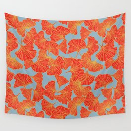 Tumbling Ginkgo Red Wall Tapestry