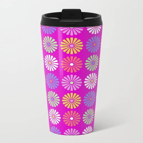 Pastel Flowers Pattern (On Purple/Pink) Metal Travel Mug