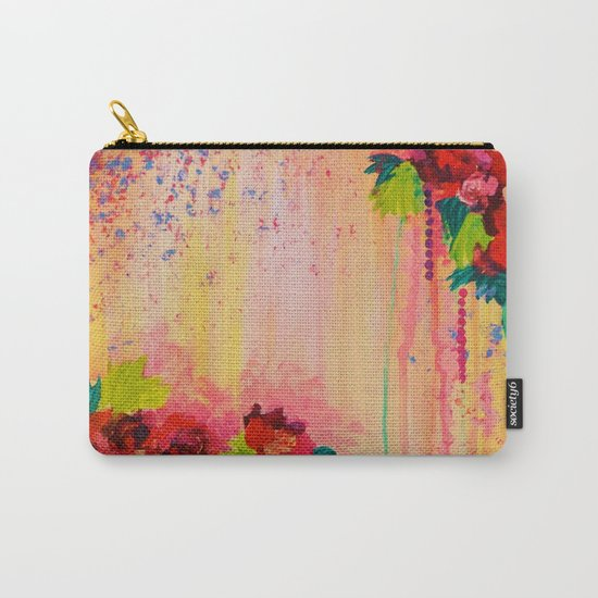 STRAWBERRY CONFETTI PAINTING Abstract Acrylic Floral Beautiful Feminine Flower Bouquet Girlie Pink Carry-All Pouch