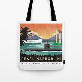 Pearl Harbor, HI - Retro Submarine Travel Poster Tote Bag