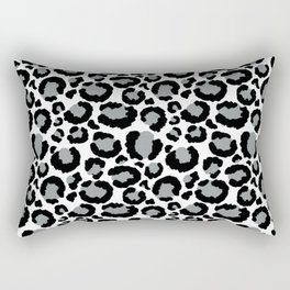 White Black & Light Gray Leopard Print Rectangular Pillow