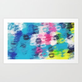 pink blue yellow kisses lipstick abstract background Art Print