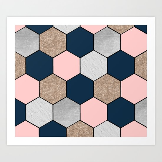 Navy and peach marble and foil hexagons Art Print