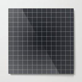 Grid in Charcoal Metal Print