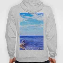 blue ocean view with blue cloudy sky in summer Hoody