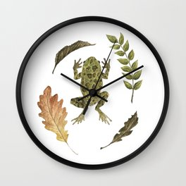 Frog in the Leaves Wall Clock