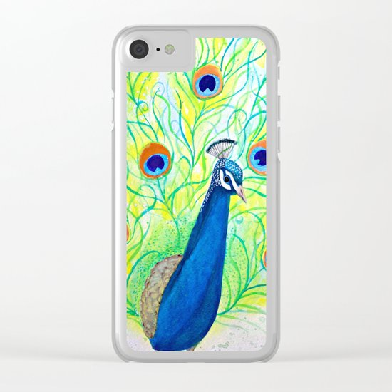 Peacock Watercolor Clear iPhone Case