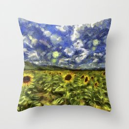 Summer Sunflowers Van Gogh Throw Pillow