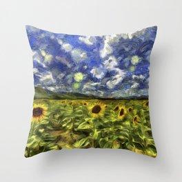 Summer Sunflowers Van Gogh Throw Pillow