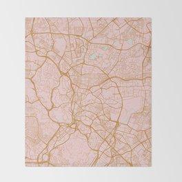 Kuala Lumpur map, Malaysia Throw Blanket