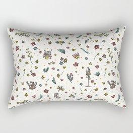 Trendy and Cute Gardening Flowers Bird Yard Rectangular Pillow