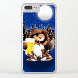 Drunk Owl with Beer Funny Character Clear iPhone Case