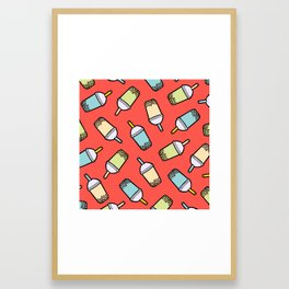 Bubble Tea Pattern in Red Framed Art Print