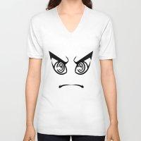 dangan ronpa V-neck T-shirts featuring Dangan Ronpa Faces by AMC Art