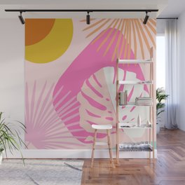 Minimal Yin Yang Monstera Fan Palm Summer Finesse #1 #tropical #decor #art #society6 Wall Mural