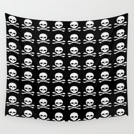 Skull and XBones in Black and White Wall Tapestry