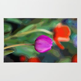 Colorful Tulip Abstract Rug