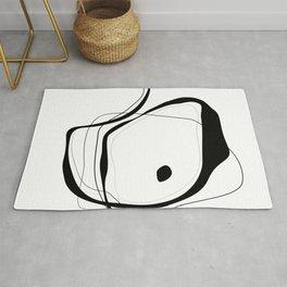 Black & White Minimalist line drawing -2, Square fine art, 40x40 simple art print, Rug
