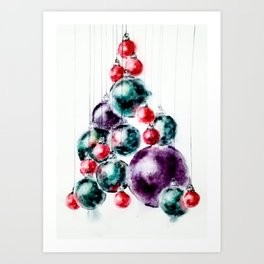 My retro baubles Christmas tree Art Print