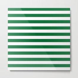 Stripes (Dark Green & White Pattern) Metal Print