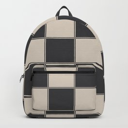 Traditional Checkerboard, Ecru-Beige and Chocolate-Deep Brown Backpack
