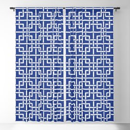 Tangled squares Chinoiserie in blue & white Blackout Curtain