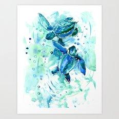 Turquoise Blue Sea Turtles in Ocean Art Print