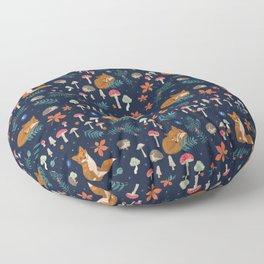Fox and Hedgehog in Toadstool Woods In Blue Floor Pillow