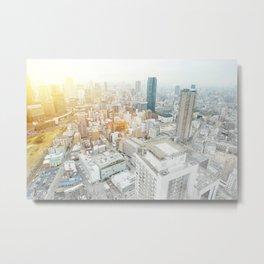 modern city skyline aerial view under sunrise and blue sky in Osaka, Japan Metal Print