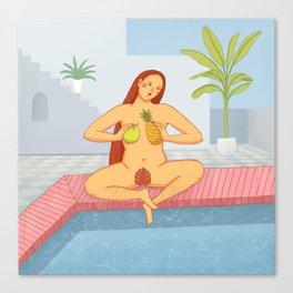 Red hair women sitting cross legged near the pool illustration Canvas Print