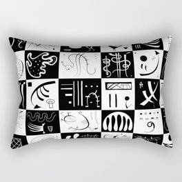 Kandinsky - Black and White Pattern - Abstract Art Rectangular Pillow