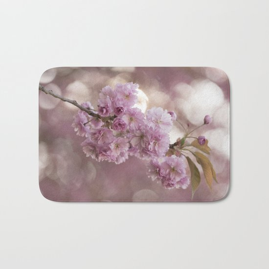 Japanese cherryblossoms in LOVE Bath Mat