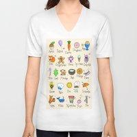 alphabet V-neck T-shirts featuring Alphabet by Lara Lockwood