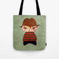 freddy krueger Tote Bags featuring A Boy - Freddy Krueger by Christophe Chiozzi