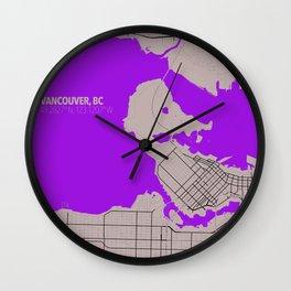 Vancouver Minimalist Map Wall Clock