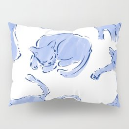 Cat Crazy blue white Pillow Sham