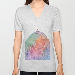 Alpaca on Rainbow Mountain Unisex V-Neck