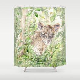 Leopard cub amongst the jungle palm leaves Shower Curtain