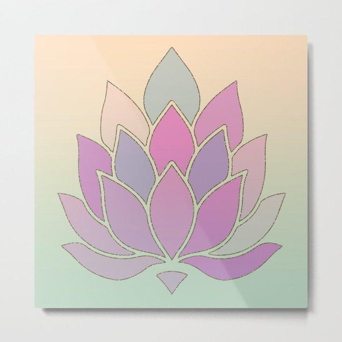 Lotus Flower Pastel Meditation Yoga Symbol Metal Print