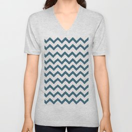 Chevron Teal Unisex V-Neck