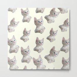 cute girly chic beige white cat pattern Metal Print