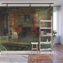 Evening interior music piano run light and shadows portrait painting by Stanislav Zhukovsky Wall Mural