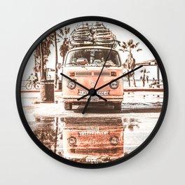 Urban Retro Camper Van With Surfboards Wall Clock